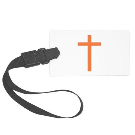 Orange Cross Large Luggage Tag
