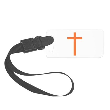 Orange Cross Small Luggage Tag