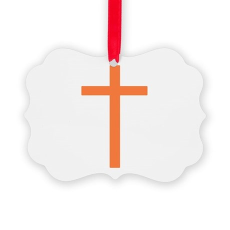 Orange Cross Picture Ornament
