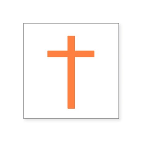 "Orange Cross Square Sticker 3"" x 3"""