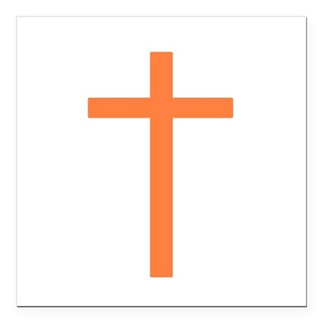 "Orange Cross Square Car Magnet 3"" x 3"""
