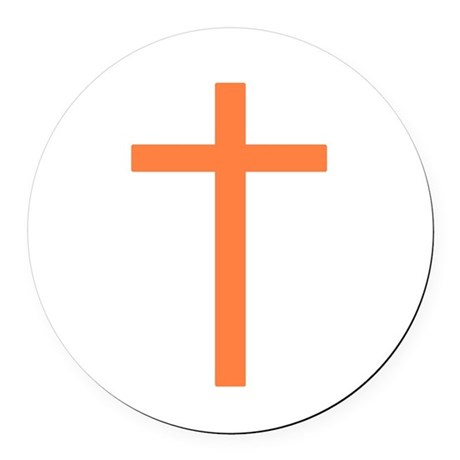 Orange Cross Round Car Magnet