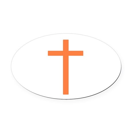 Orange Cross Oval Car Magnet