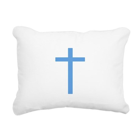 Light Blue Cross Rectangular Canvas Pillow