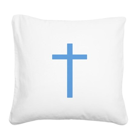 Light Blue Cross Square Canvas Pillow