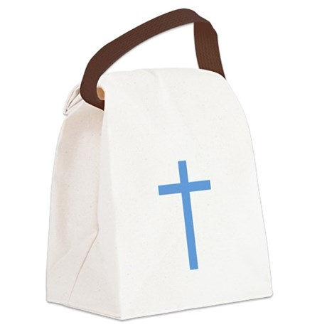 Light Blue Cross Canvas Lunch Bag