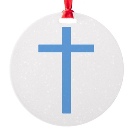 Light Blue Cross Round Ornament