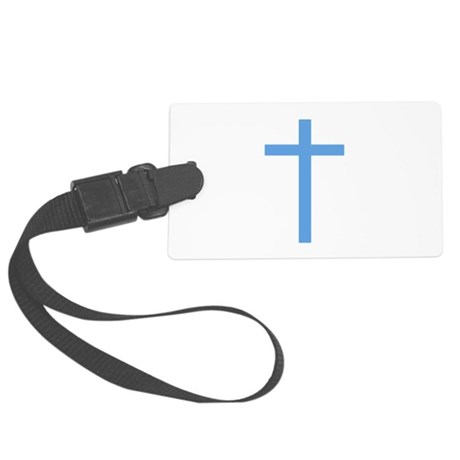 Light Blue Cross Large Luggage Tag