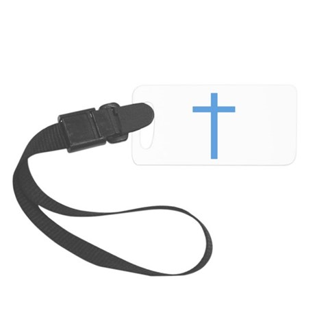 Light Blue Cross Small Luggage Tag