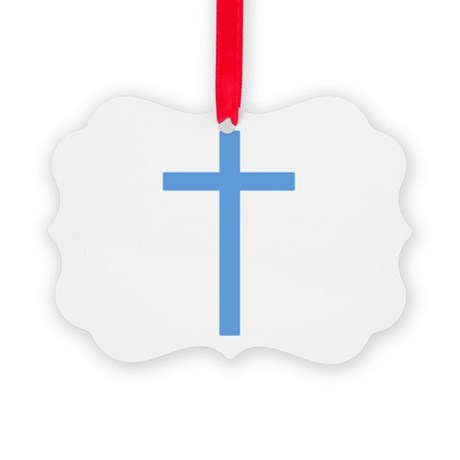 Light Blue Cross Picture Ornament