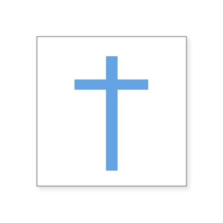 "Light Blue Cross Square Sticker 3"" x 3"""