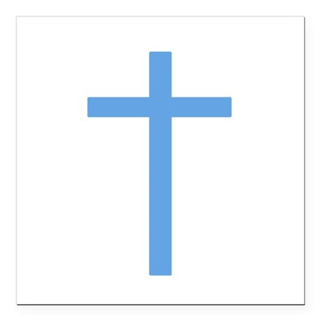 "Light Blue Cross Square Car Magnet 3"" x 3"""