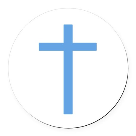 Light Blue Cross Round Car Magnet