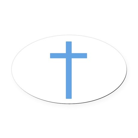 Light Blue Cross Oval Car Magnet