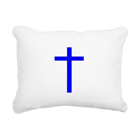 Bright Blue Cross Rectangular Canvas Pillow