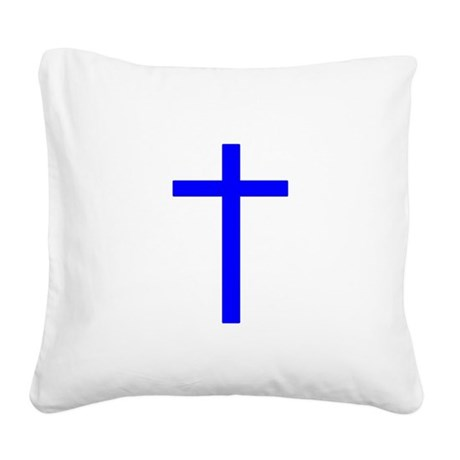 Bright Blue Cross Square Canvas Pillow