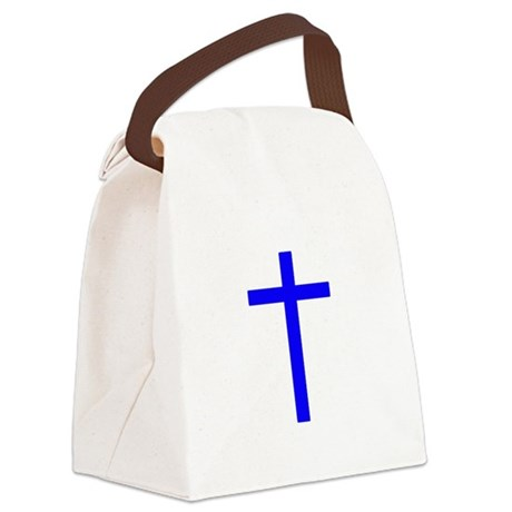 Bright Blue Cross Canvas Lunch Bag