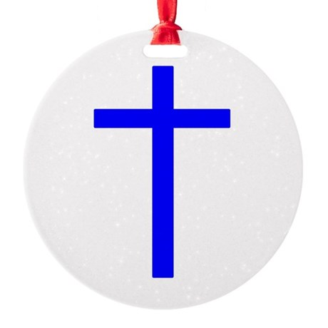 Bright Blue Cross Round Ornament