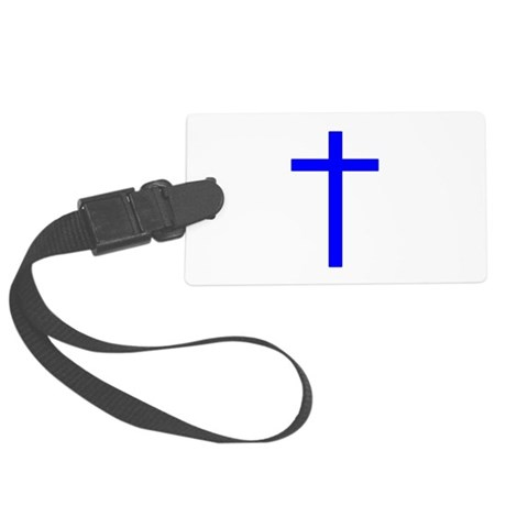 Bright Blue Cross Large Luggage Tag