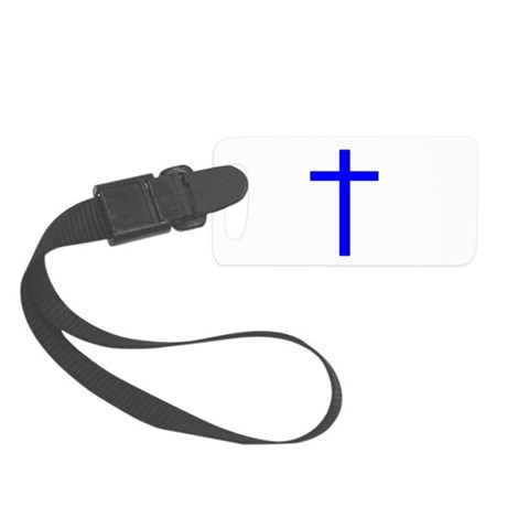 Bright Blue Cross Small Luggage Tag