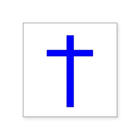 Bright Blue Cross Square Sticker 3&quot; x 3&quot;