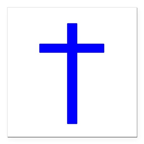Bright Blue Cross Square Car Magnet 3&quot; x 3&quot;