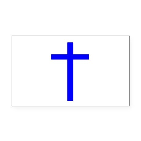 Bright Blue Cross Rectangle Car Magnet