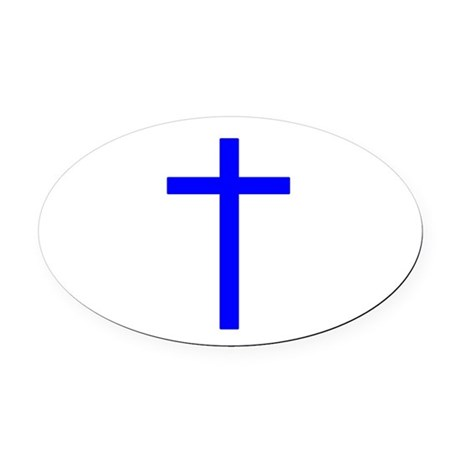 Bright Blue Cross Oval Car Magnet