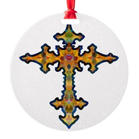 cross25d.png Round Ornament