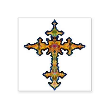 "cross25d.png Square Sticker 3"" x 3"""