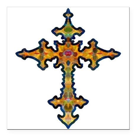 "cross25d.png Square Car Magnet 3"" x 3"""