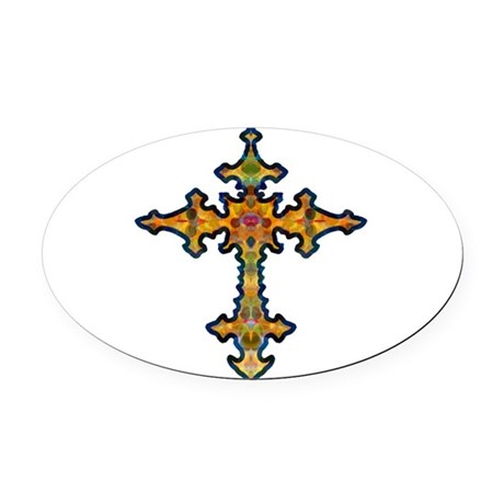 cross25d.png Oval Car Magnet