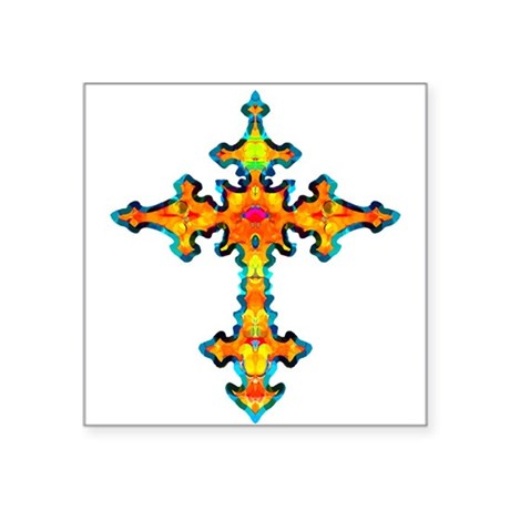 "cross25c.png Square Sticker 3"" x 3"""