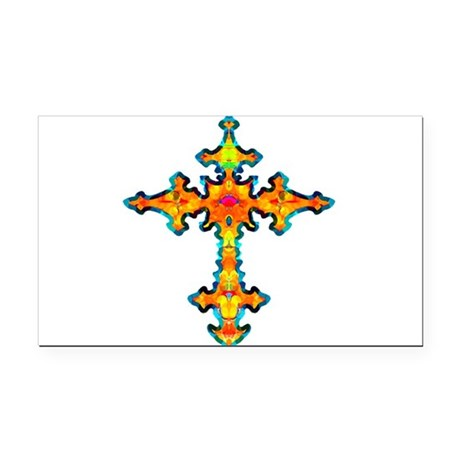 cross25c.png Rectangle Car Magnet