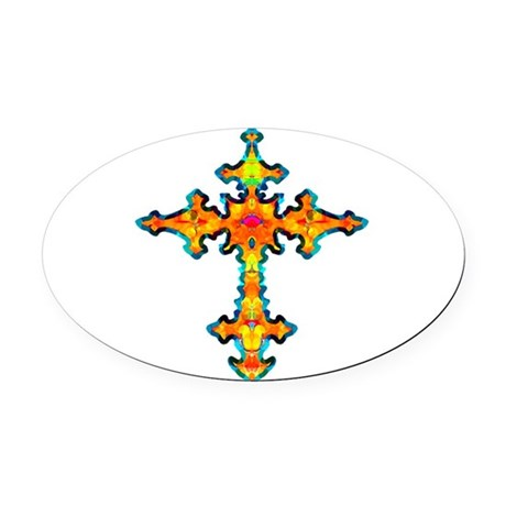 cross25c.png Oval Car Magnet