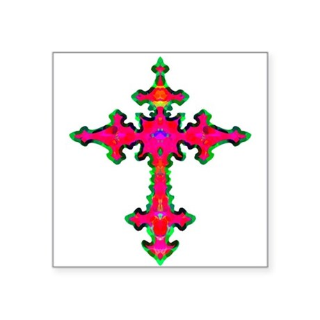 "cross25b.png Square Sticker 3"" x 3"""