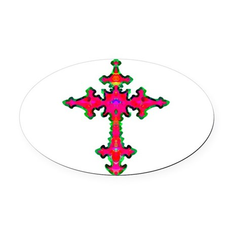 cross25b.png Oval Car Magnet