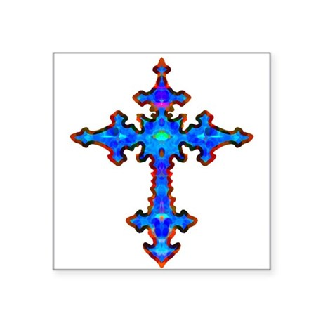 "cross25a.png Square Sticker 3"" x 3"""