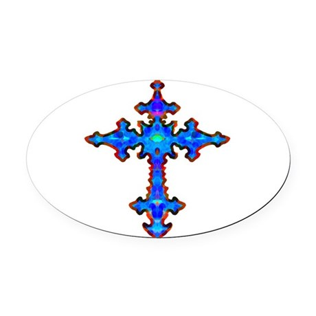 cross25a.png Oval Car Magnet