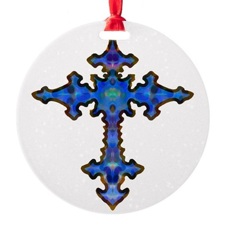 cross25.png Round Ornament