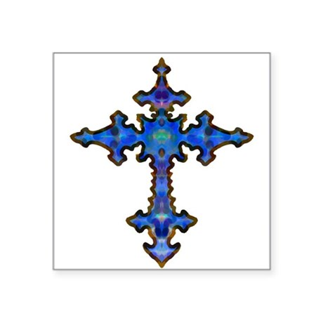 "cross25.png Square Sticker 3"" x 3"""
