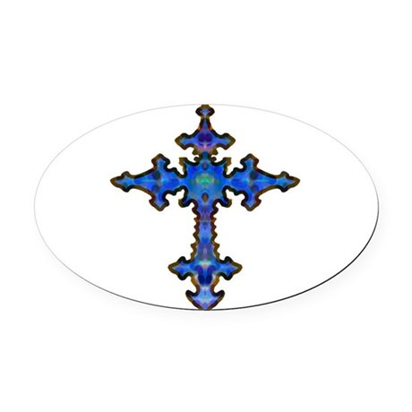 cross25.png Oval Car Magnet