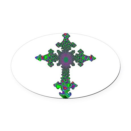 cross24b3.png Oval Car Magnet
