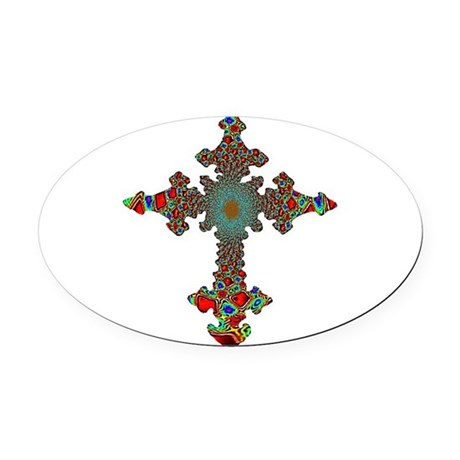 cross24c.png Oval Car Magnet