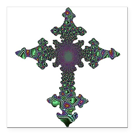 cross24b2.png Square Car Magnet 3&quot; x 3&quot;