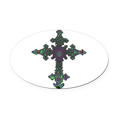 cross24b2.png Oval Car Magnet