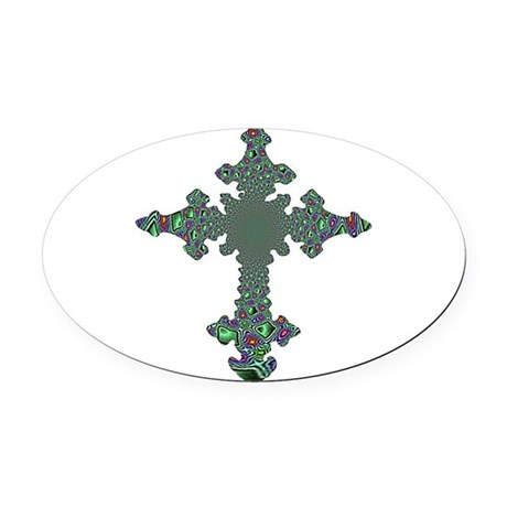 cross24b.png Oval Car Magnet