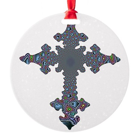 cross24a.png Round Ornament