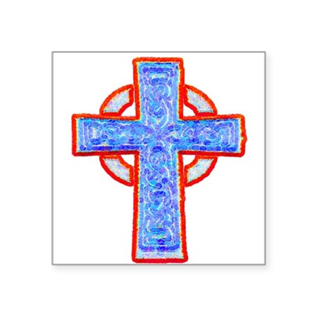 "cross29a.png Square Sticker 3"" x 3"""