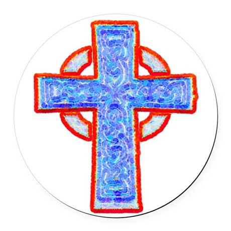 cross29a.png Round Car Magnet